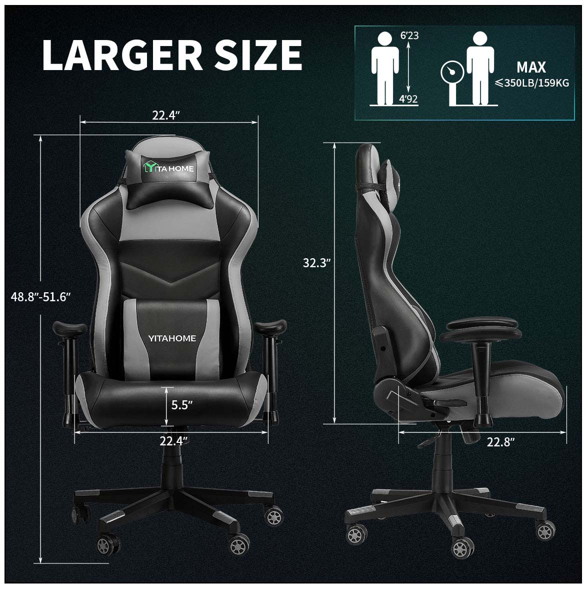top gaming chairs larger size