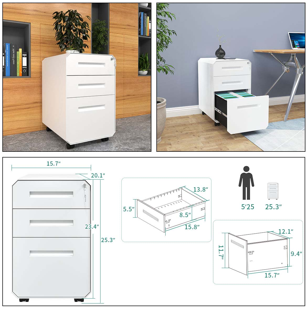 white filing cabinet detail size