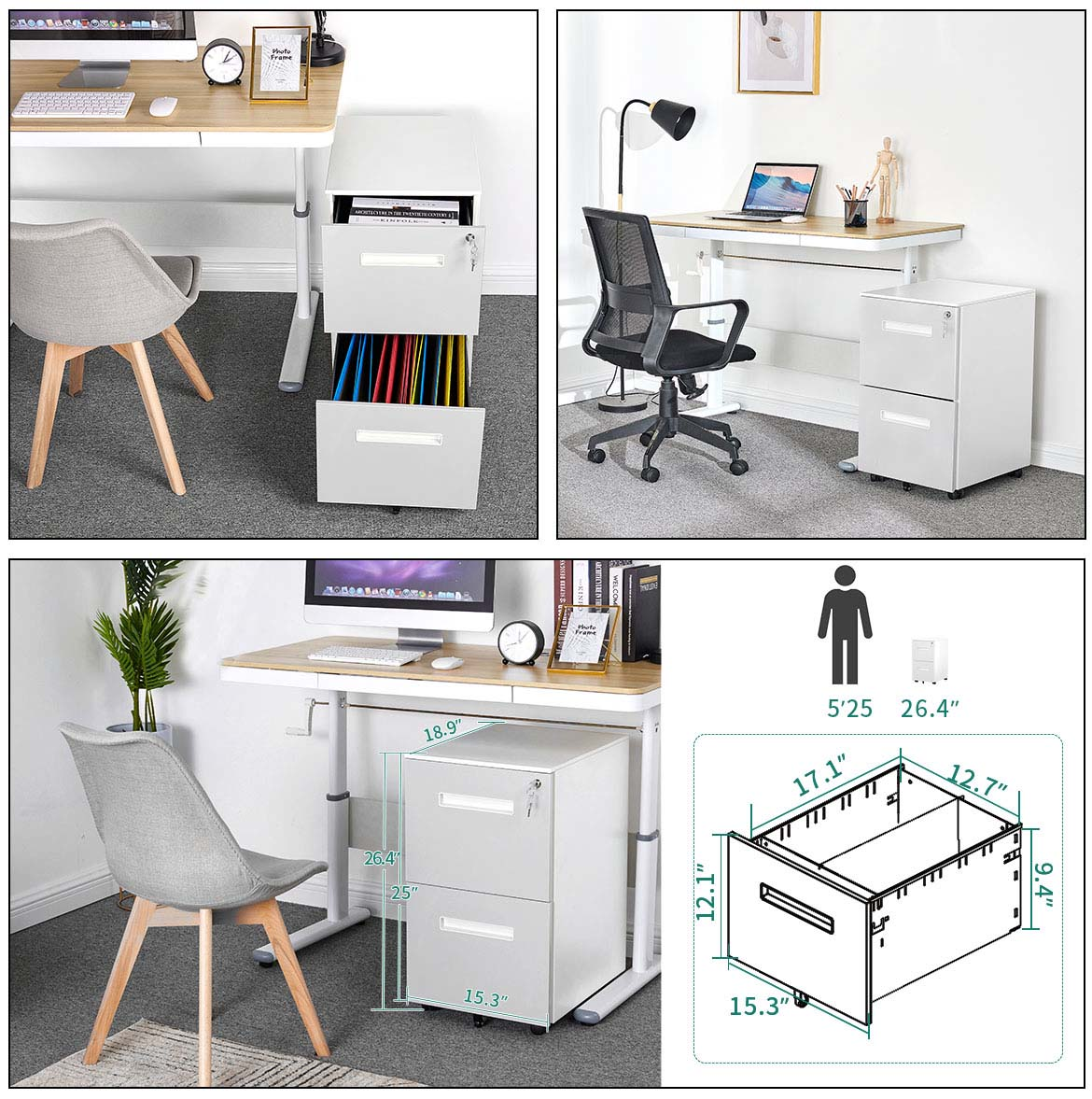 white filing cabinet size