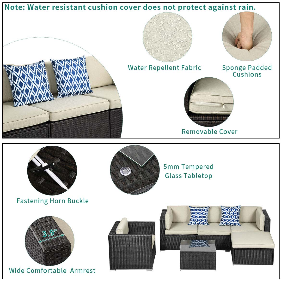 wicker patio sectional detail feature