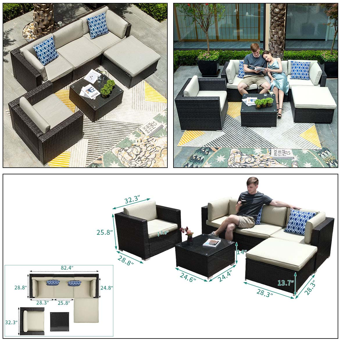 wicker patio sectional detail size