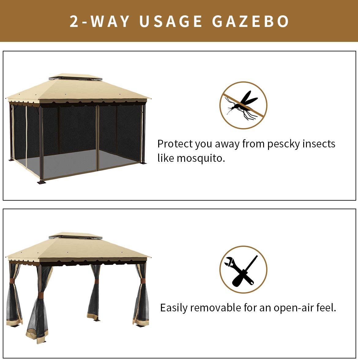 2-way usage 10x13 gazebo with netting