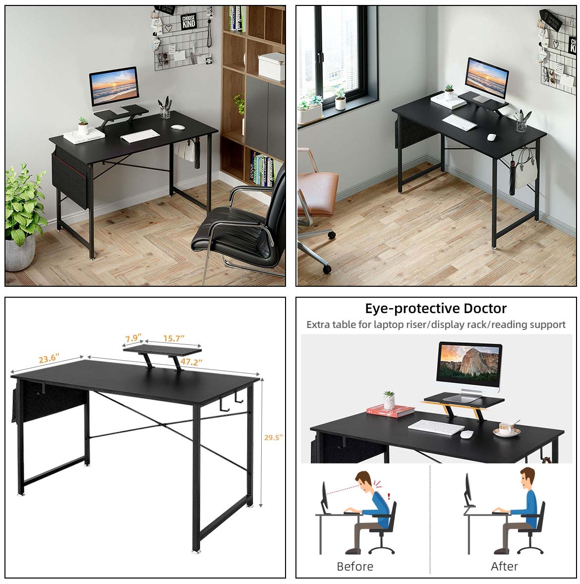 home office computer desk detail size
